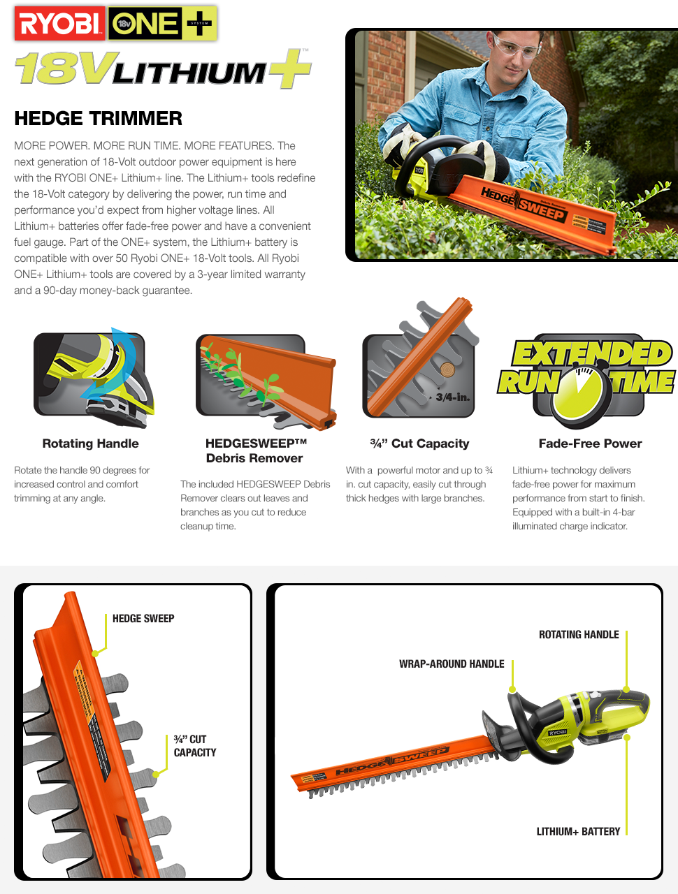 ONE+ Lithium+ 22 in. 18-Volt Lithium-Ion Cordless Hedge Trimmer