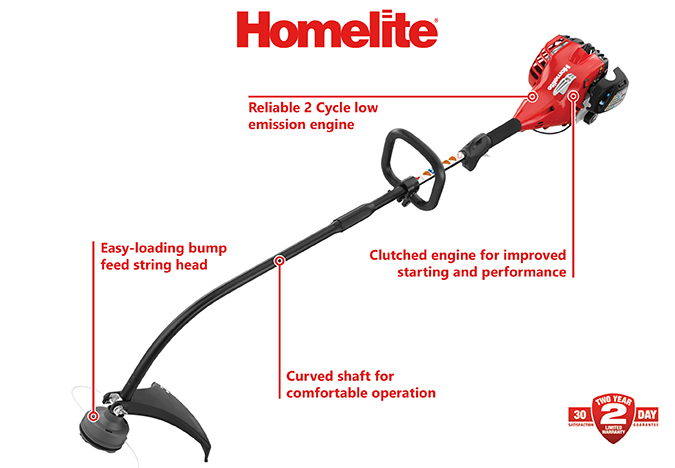 Homelite 2Cycle 26cc Curved Shaft Gas TrimmerUT33600A  The Home