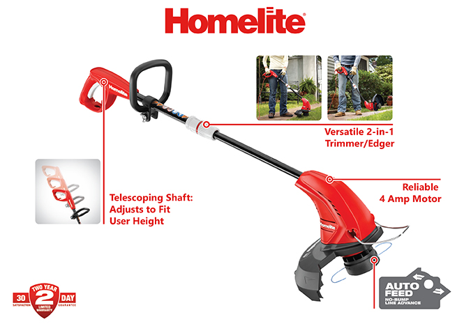 Homelite 13 inch 4 Amp Straight Electric String Trimmer