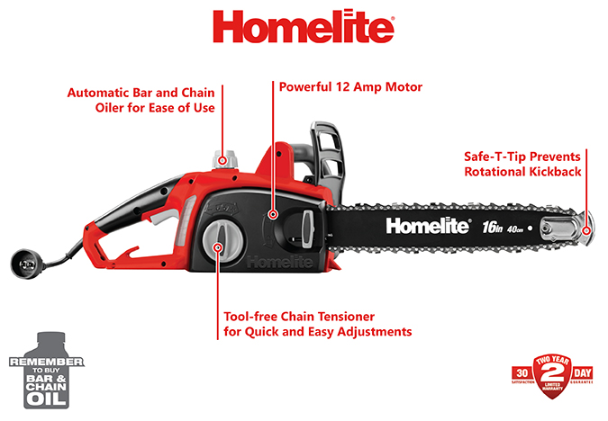 Homelite 16 in. 12-Amp Electric Chainsaw