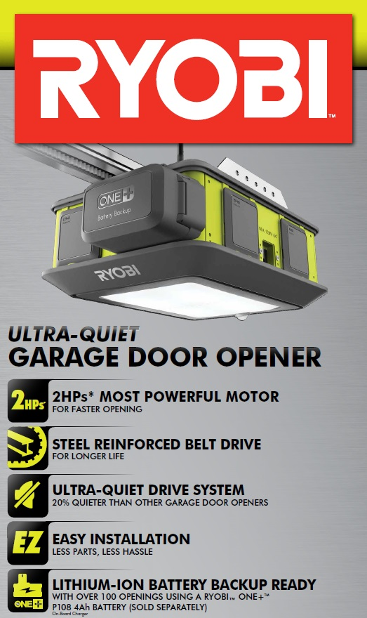 Ryobi Ultra Quiet Garage Door Opener System 2hps Ultra