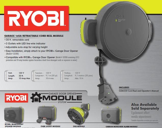 Ryobi Garage Compatible Retractable Led Cord Reel