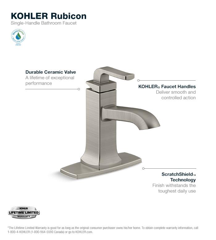 Kohler Single Hole Bathroom Faucet kohler rubicon single hole single-handle bathroom faucet in