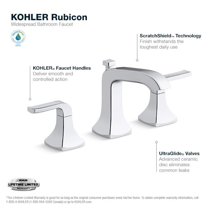 kohler rubicon 8 in widespread 2 handle bathroom faucet in