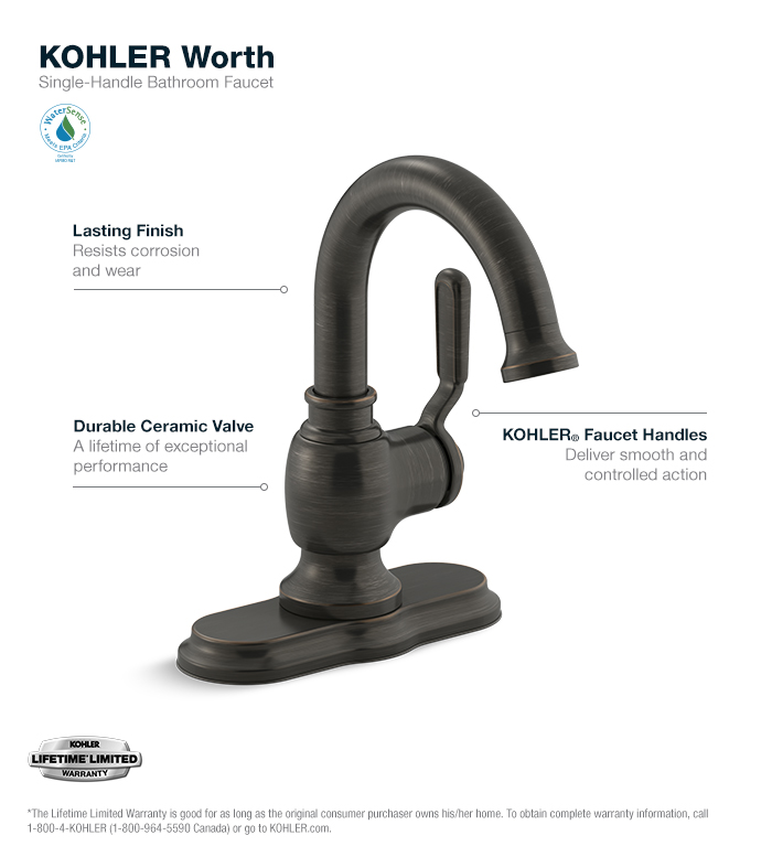 kohler oil rubbed bronze single hole single handle bathroom faucet