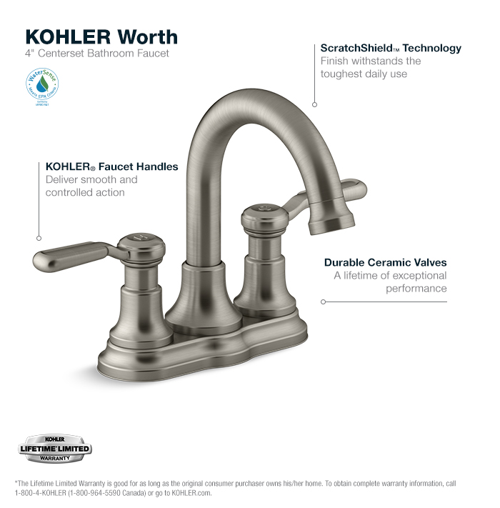 kohler worth 4 in. centerset 2-handle bathroom faucet in vibrant