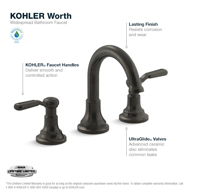 Kohler Worth 8 In 2 Handle Widespread Bathroom Faucet In Oil Rubbed Bronze K R76257 4d 2bz