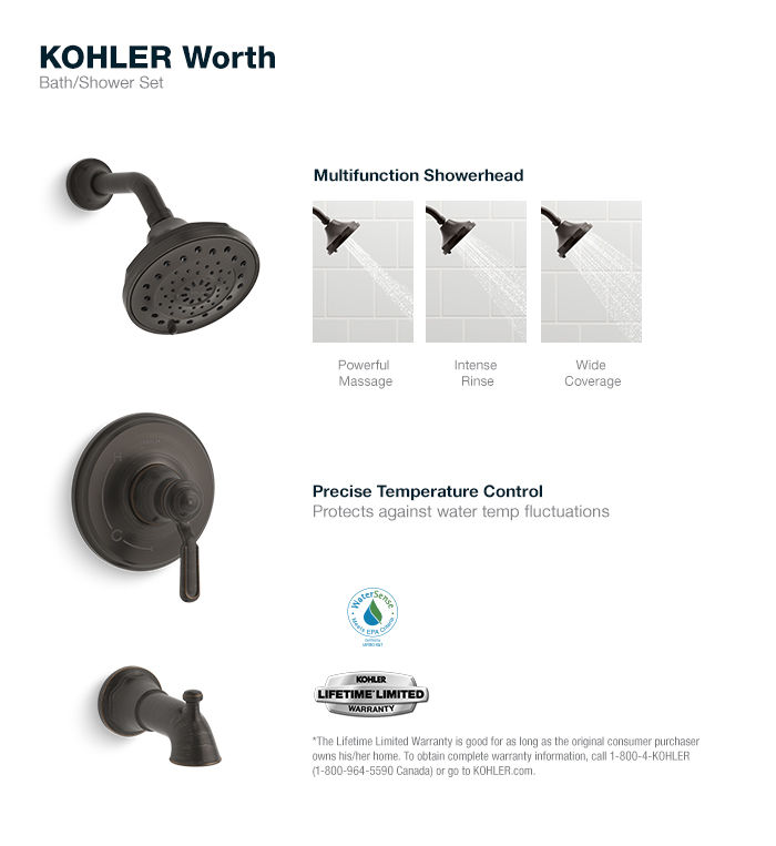 Kohler Worth 1 Handle 3 Spray Tub And Shower Faucet In Oil Rubbed Bronze K R76258 4e 2bz The