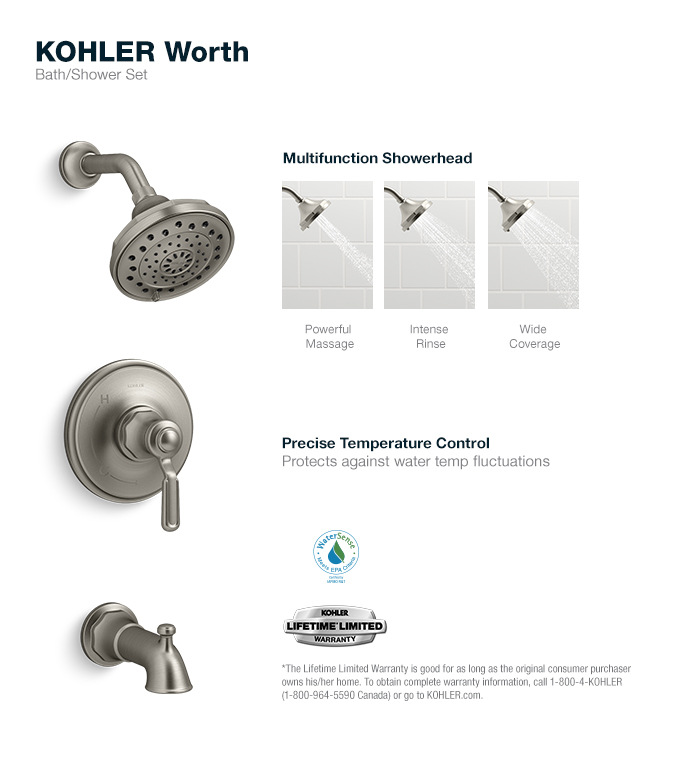 KOHLER Worth 1Handle 3Spray Tub and Shower Faucet in Vibrant