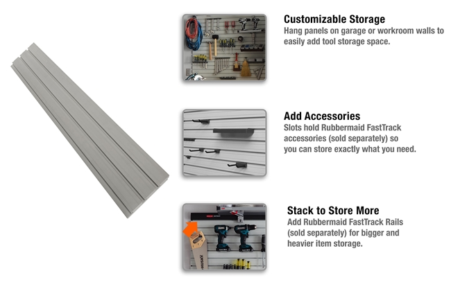 Rubbermaid Fasttrack Slat Wall Panel Bundle Kit 3 Piece