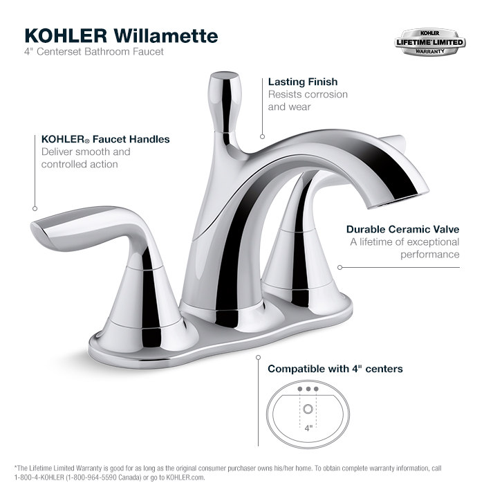 Willamette Chrome Centerset Bathroom Faucet