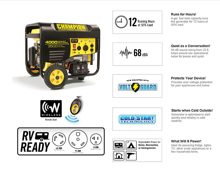 Gasoline Powered Electric Start Portable Generator 46566