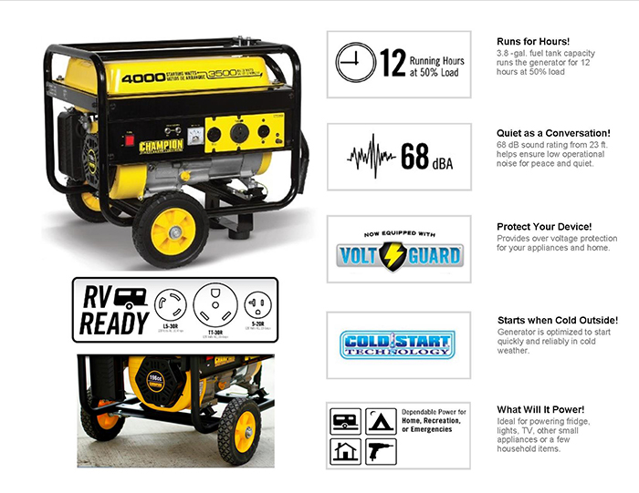 Recoil Start Gasoline Powered Portable Generator 46598