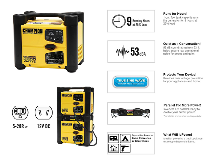 Recoil Start Gasoline Powered Portable Inverter Generator 73536i