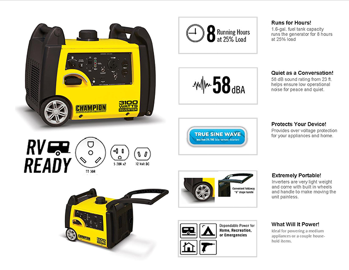 Gasoline Powered Recoil Start Portable Inverter Generator 75531i