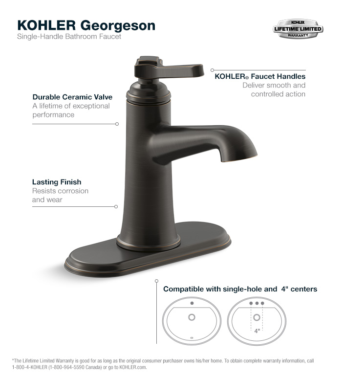 Bathroom Faucets Home Depot kohler georgeson single hole single handle water-saving bathroom