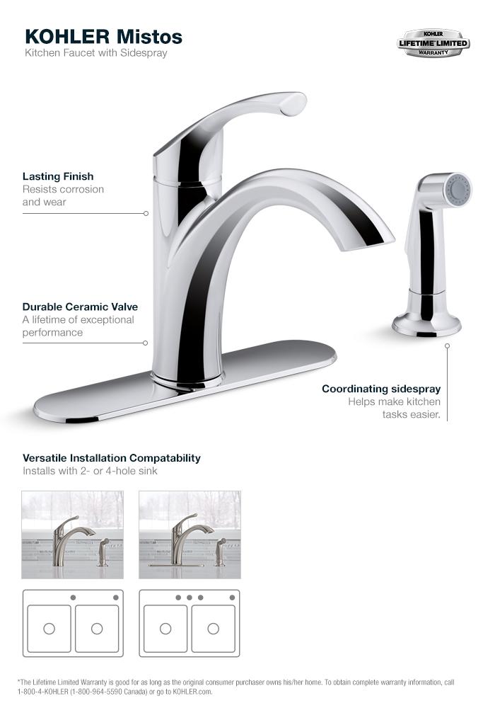Kohler Mistos Single-Handle Standard Kitchen Faucet With Side