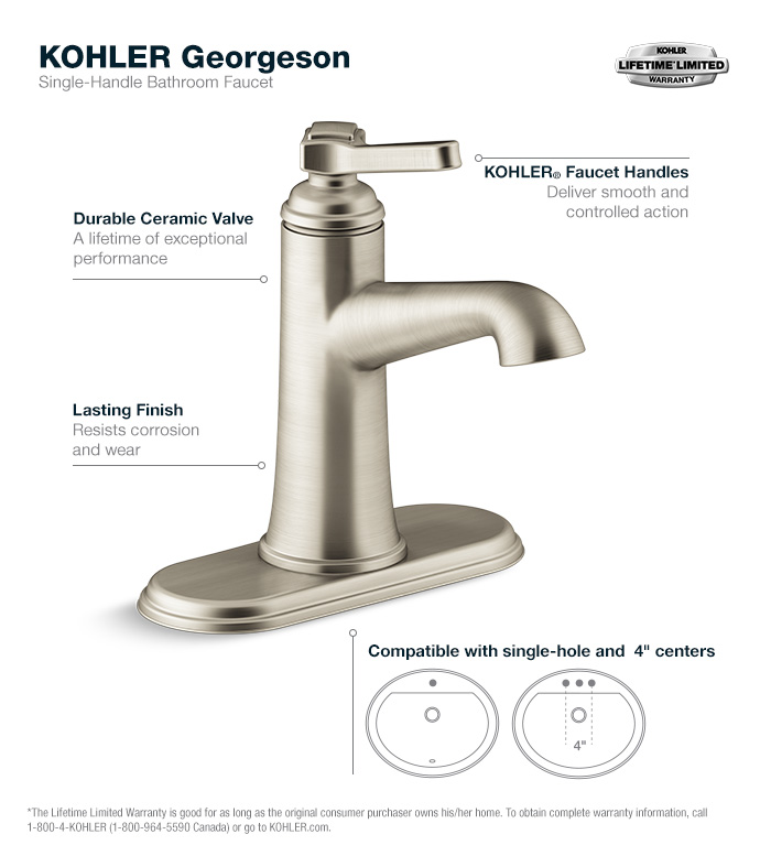 Bathroom Faucets Lifetime Warranty kohler georgeson single hole single handle water-saving bathroom