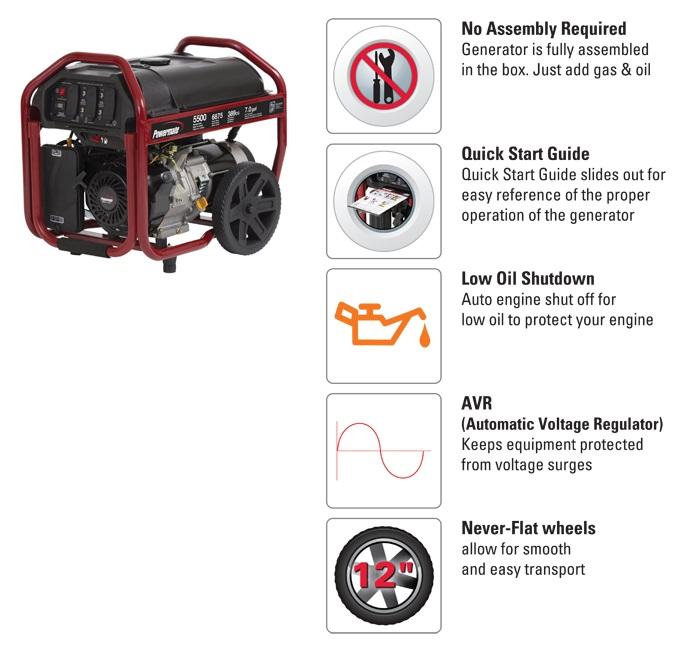 5,500-Watt Gasoline Powered Manual Start Portable Generator