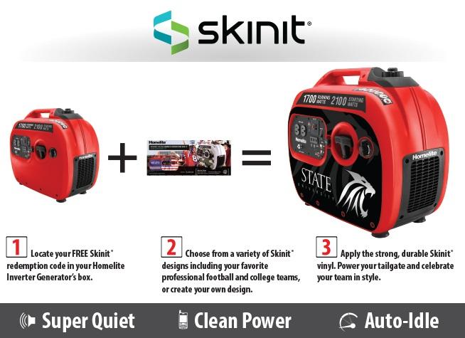Homelite Skinit 2,100-Watt Gasoline Powered Quiet Tailgate Inverter Generator