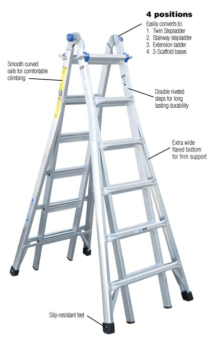 Werner 26 Ft Aluminum Telescoping Multi Position Ladder