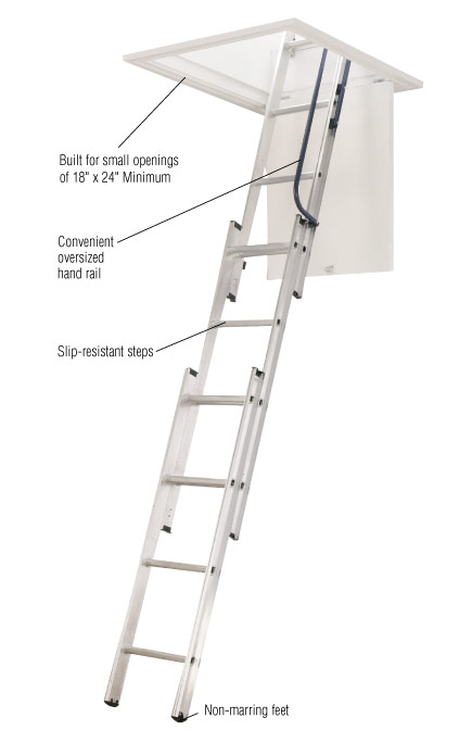 Werner Aluminum Attic Ladder Stairs Steps Telescoping