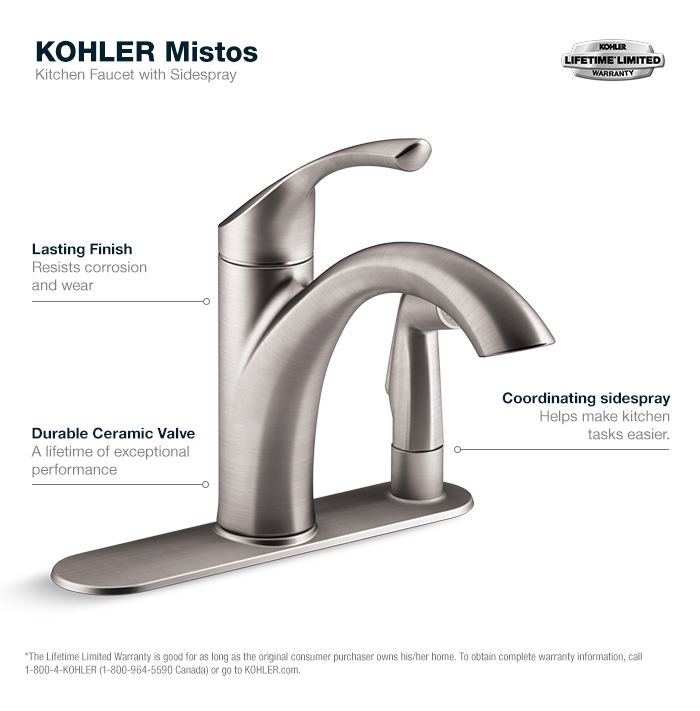 Kohler Kitchen Faucets kohler mistos single-handle standard kitchen faucet with side