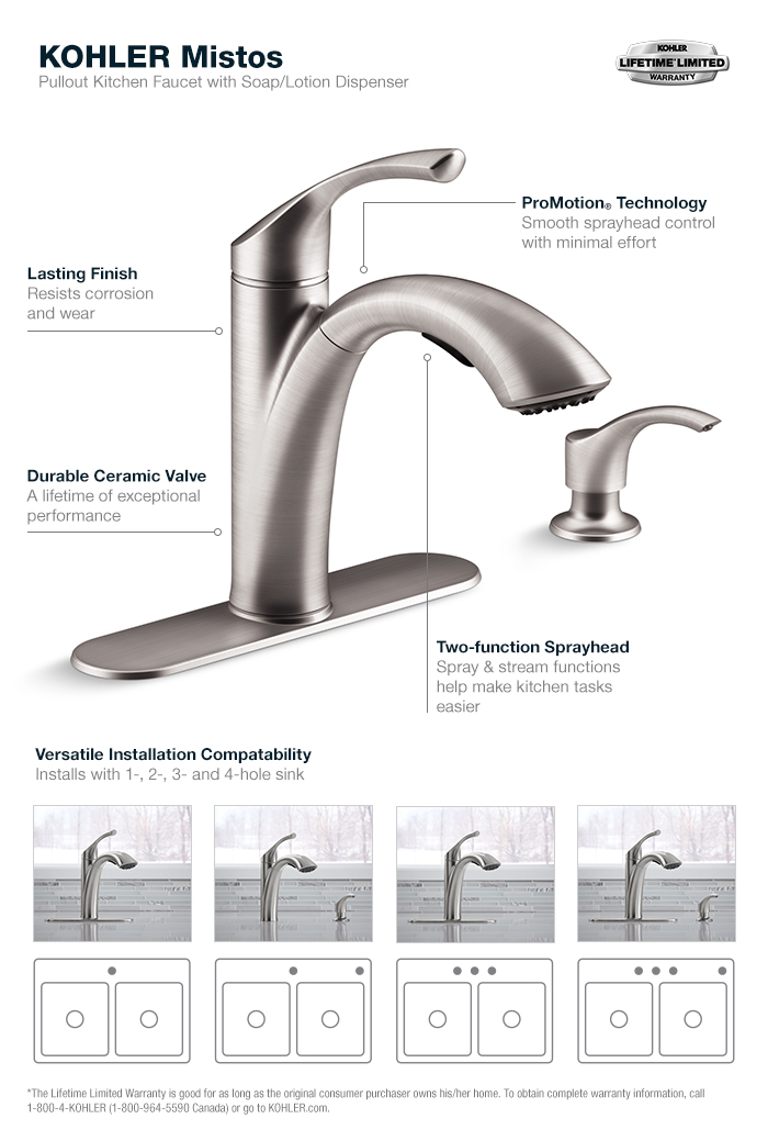attractive Fix Kohler Kitchen Faucet #7: Mistos Pull-Out Kitchen Faucet in Stainless Steel