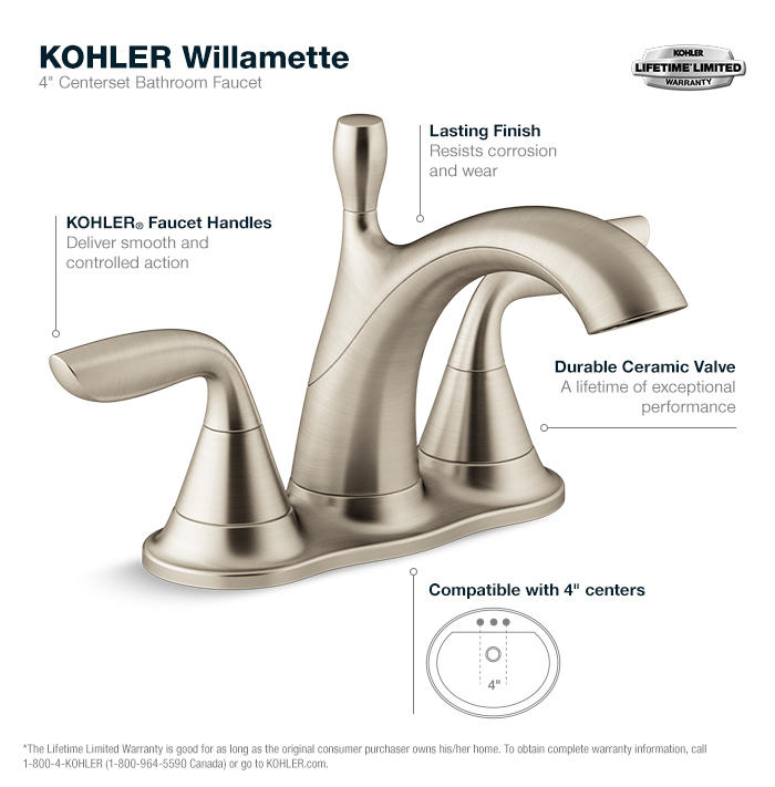 Bathroom Fixtures At Home Depot kohler willamette 4 in. centerset 2-handle water-saving bathroom