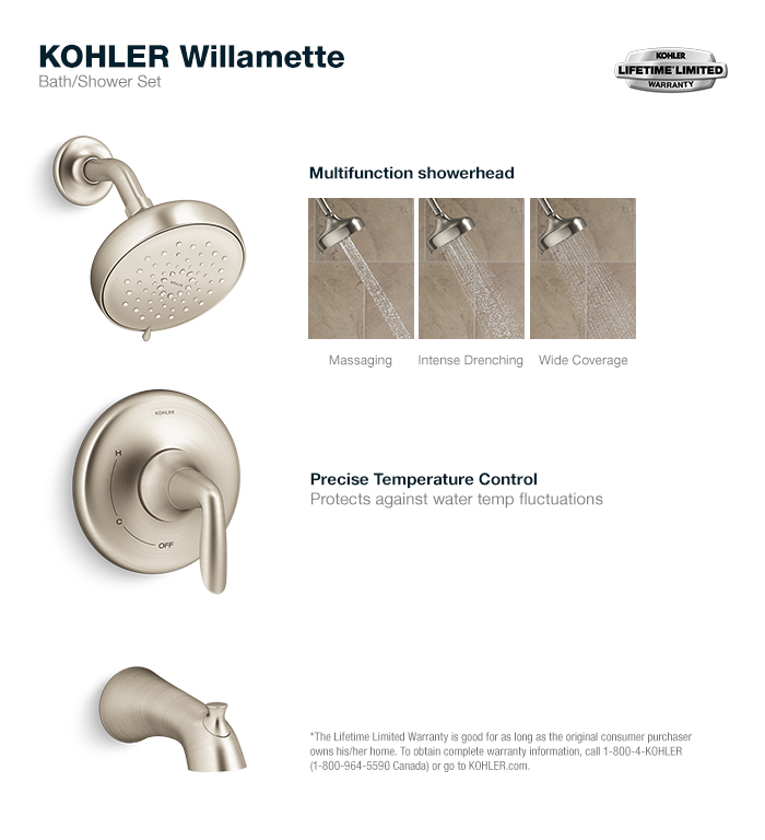 KOHLER Willamette Single Handle 3 Spray Tub and Shower Faucet in