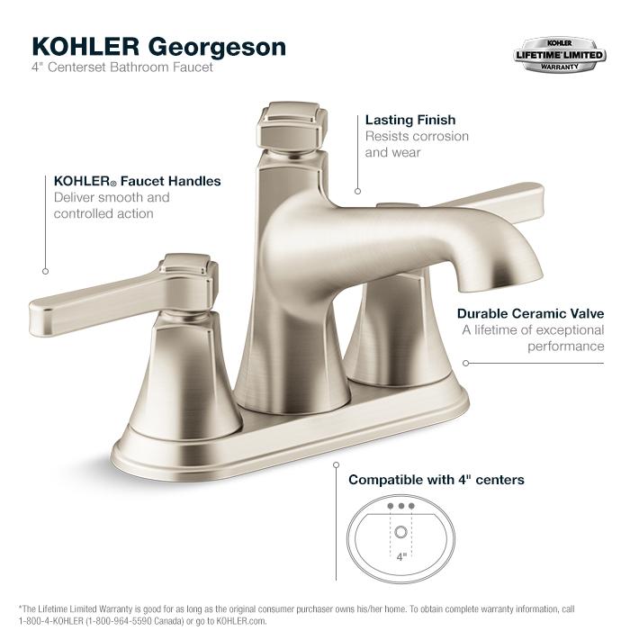 Bathroom Fixtures Kohler kohler georgeson 4 in. centerset 2-handle water-saving bathroom