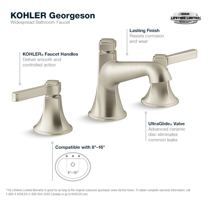 Georgeson Widespread Bathroom Faucet In Vibrant Brushed Nickel