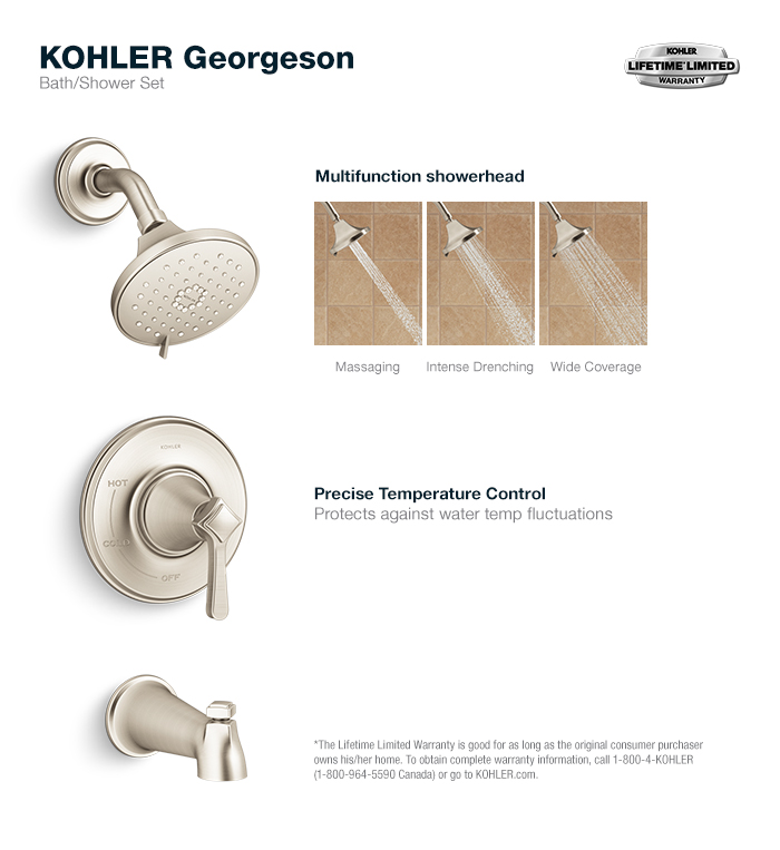KOHLER Georgeson Single-Handle 3-Spray Tub and Shower Faucet in ...