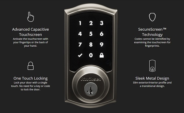 SmartCode 915 Touchscreen Single Cylinder Satin Nickel UL-Rated Electronic Deadbolt Featuring SmartKey