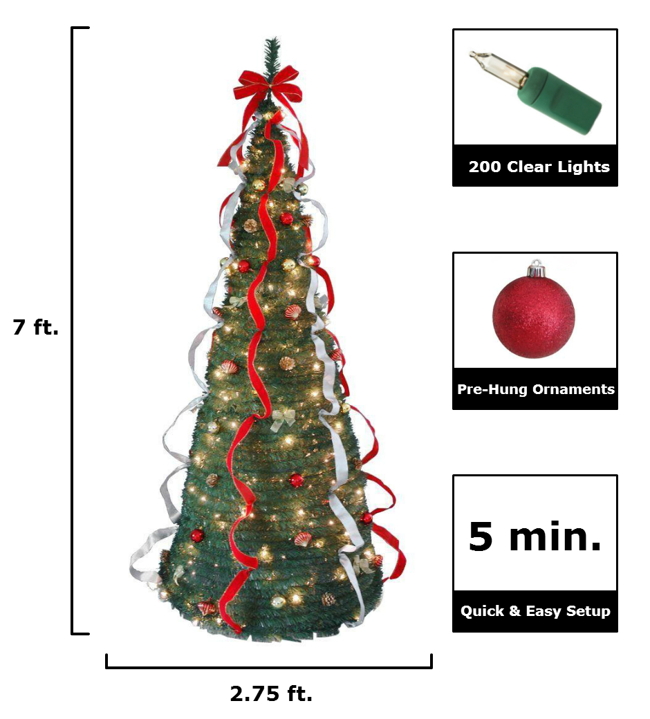 national tree company 7 ft pop up artificial christmas tree with decorations and 200 clear