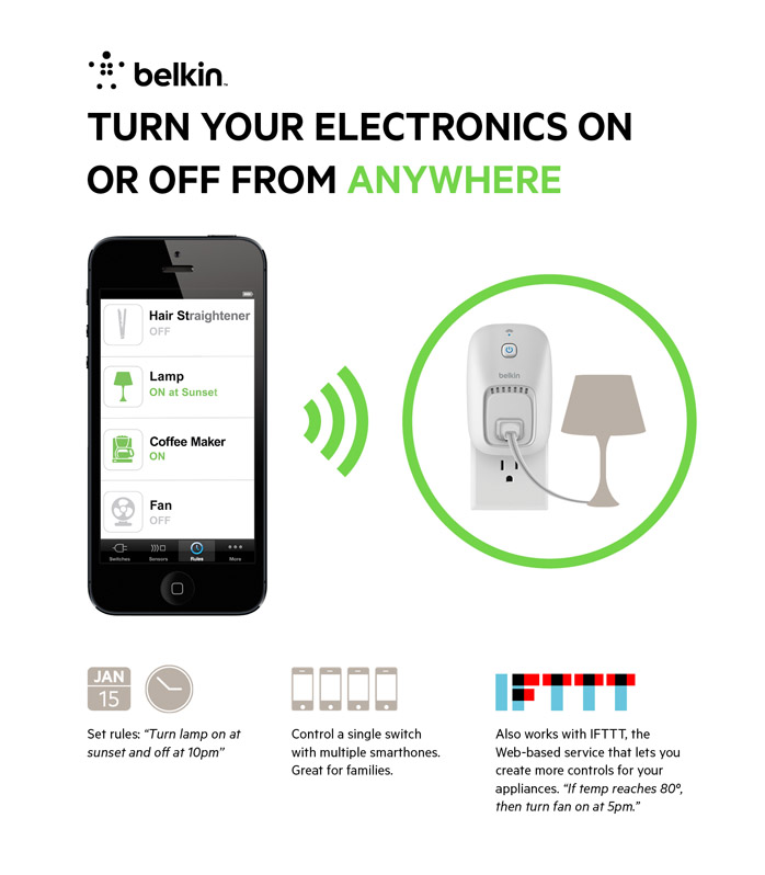 Smartphone Light Switch belkin wemo switch, white-f7c027fcapl-w - the home depot