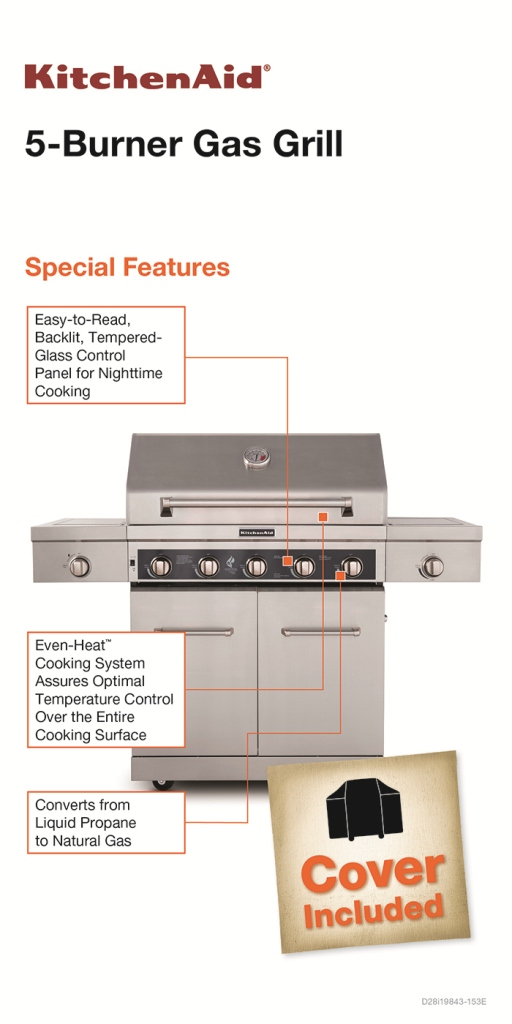 KitchenAid 5-Burner Propane Gas Grill with LED Control Panel and Side Burner
