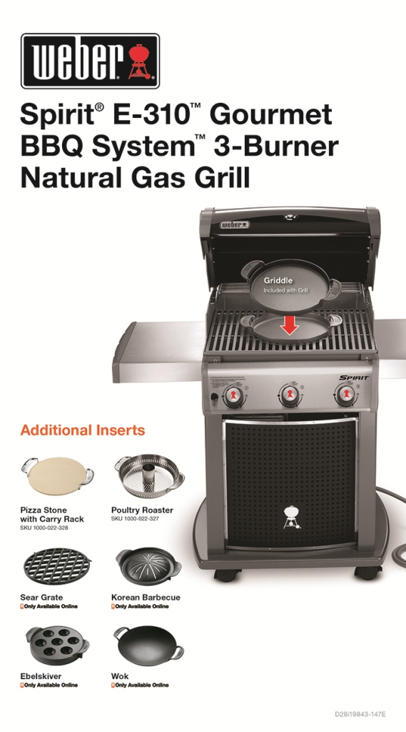weber spirit e 310 3 burner natural gas grill in black. Black Bedroom Furniture Sets. Home Design Ideas