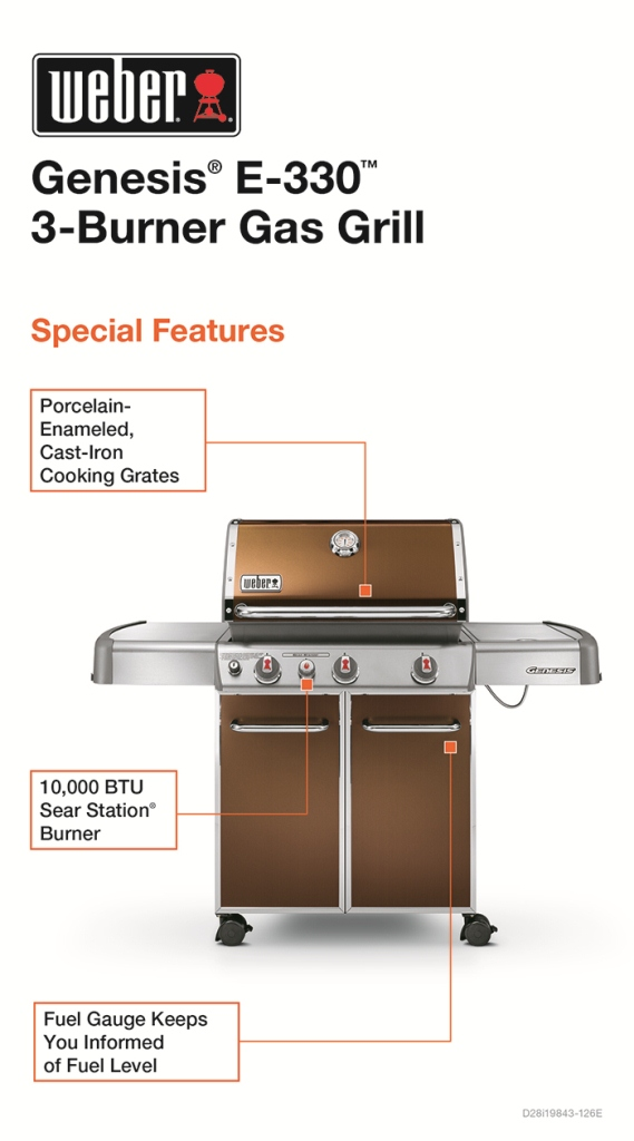 weber genesis e 330 3 burner propane gas grill in copper. Black Bedroom Furniture Sets. Home Design Ideas