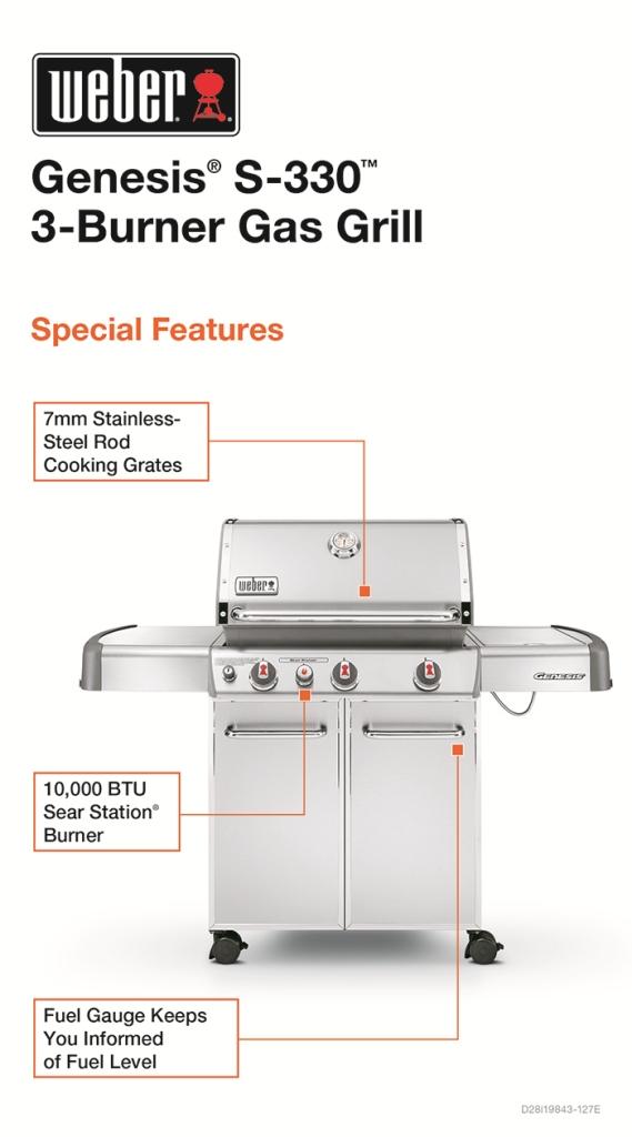 weber genesis s330 3burner stainless steel propane gas grill